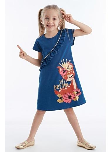 Denokids Dream Fırfırlı Kız Elbise Lacivert